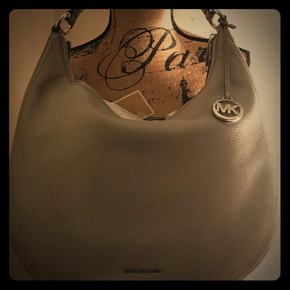 6f5d5aec35 NWT Michael Kors Lydia Silver-Tone Large Hobo Bag